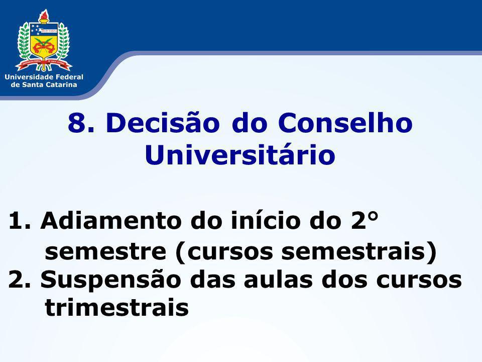 8. Decisão do Conselho Universitário 1. Adiamento do início do 2° semestre (cursos semestrais) 2.