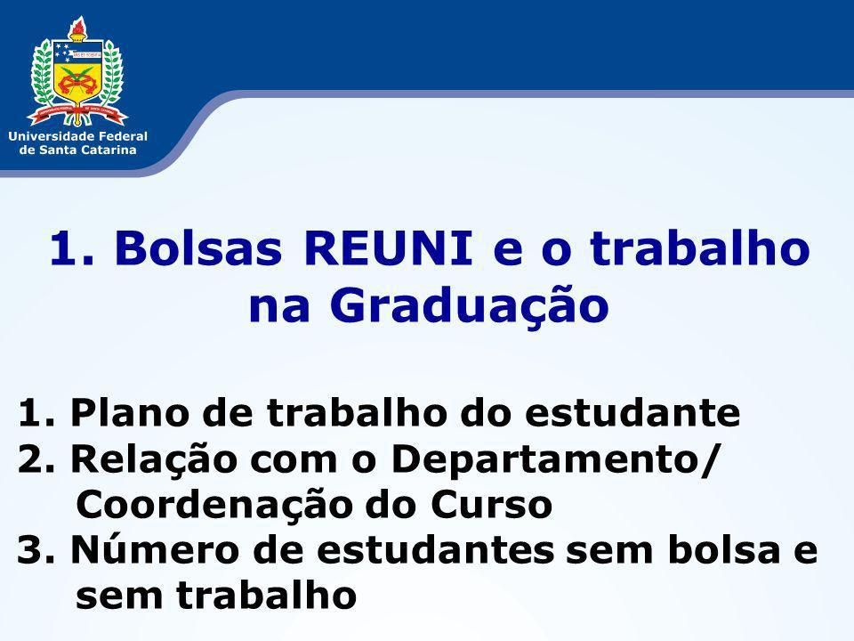 1. Bolsas REUNI e o trabalho na Graduação 1. Plano de trabalho do estudante 2.