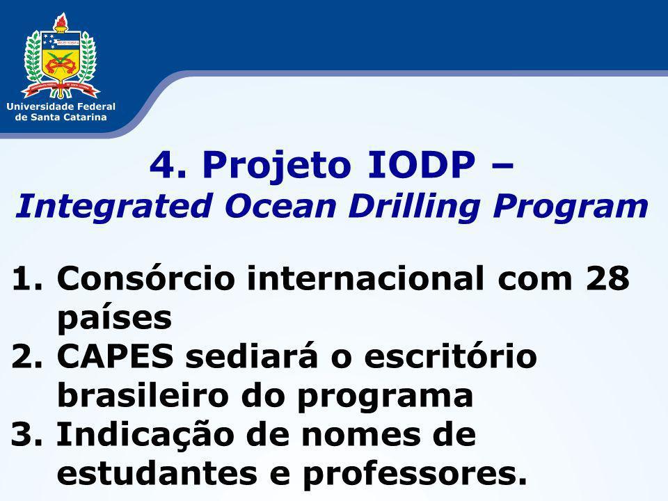 4. Projeto IODP – Integrated Ocean Drilling Program 1.Consórcio internacional com 28 países 2.CAPES sediará o escritório brasileiro do programa 3. Ind