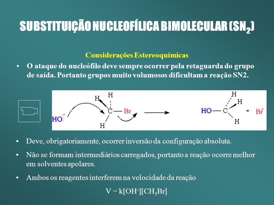 SUBSTITUIÇÃO NUCLEOFÍLICA BIMOLECULAR (SN 2 ) Considerações Estereoquímicas O ataque do nucleófilo deve sempre ocorrer pela retaguarda do grupo de saí
