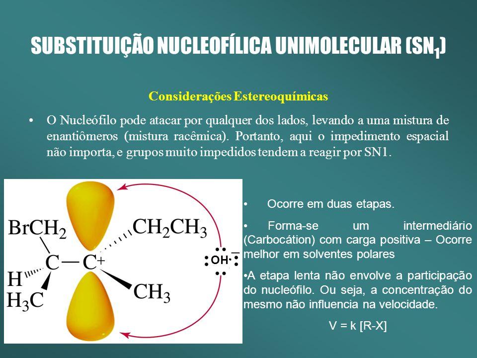 SUBSTITUIÇÃO NUCLEOFÍLICA UNIMOLECULAR (SN 1 ) Considerações Estereoquímicas O Nucleófilo pode atacar por qualquer dos lados, levando a uma mistura de