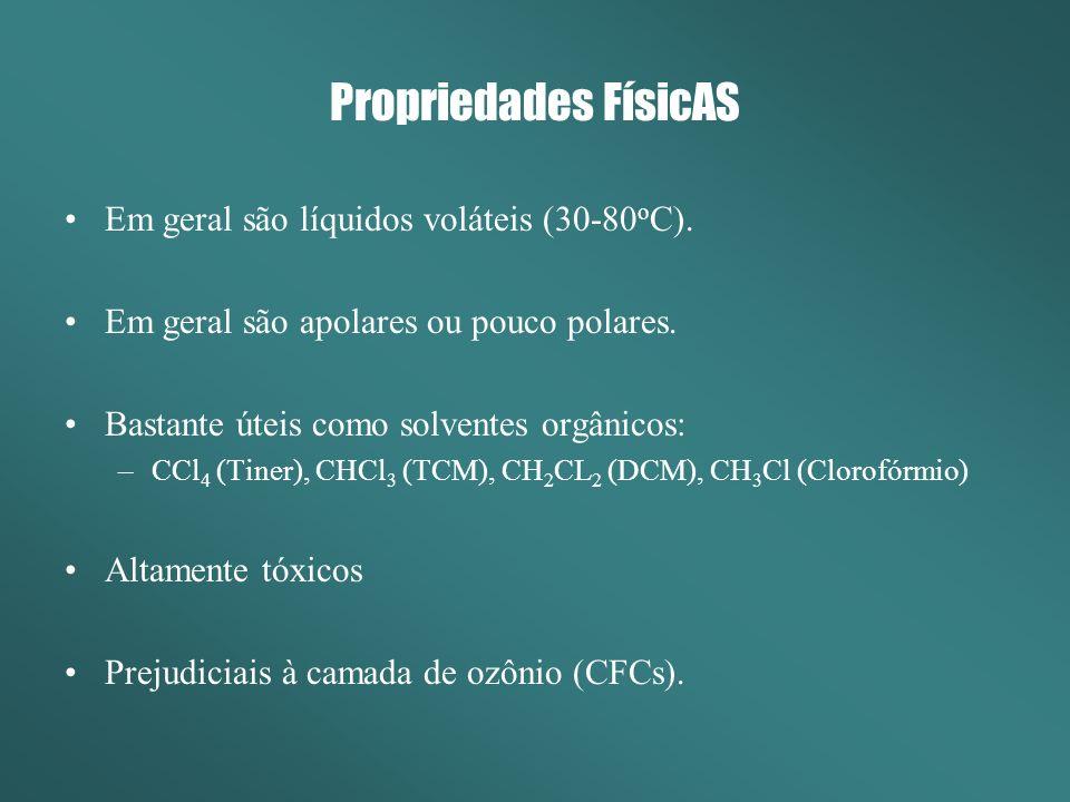 Propriedades FísicAS Em geral são líquidos voláteis (30-80 o C). Em geral são apolares ou pouco polares. Bastante úteis como solventes orgânicos: –CCl