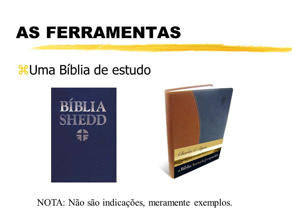 AS FERRAMENTAS zUma Bíblia de estudo NOTA: Não são indicações, meramente exemplos.