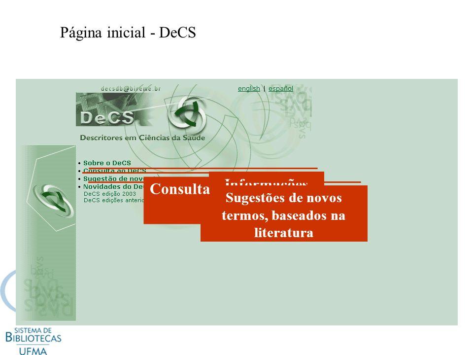 Página inicial - DeCS Informações gerais Sugestões de novos termos, baseados na literatura Consulta
