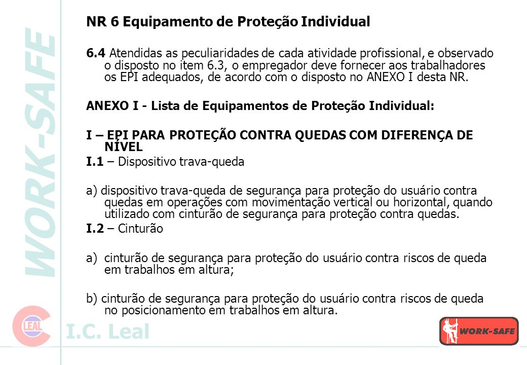 WORK-SAFE I.C.Leal NR 10 Serviços em Eletricidade 10.3.1.1.1.