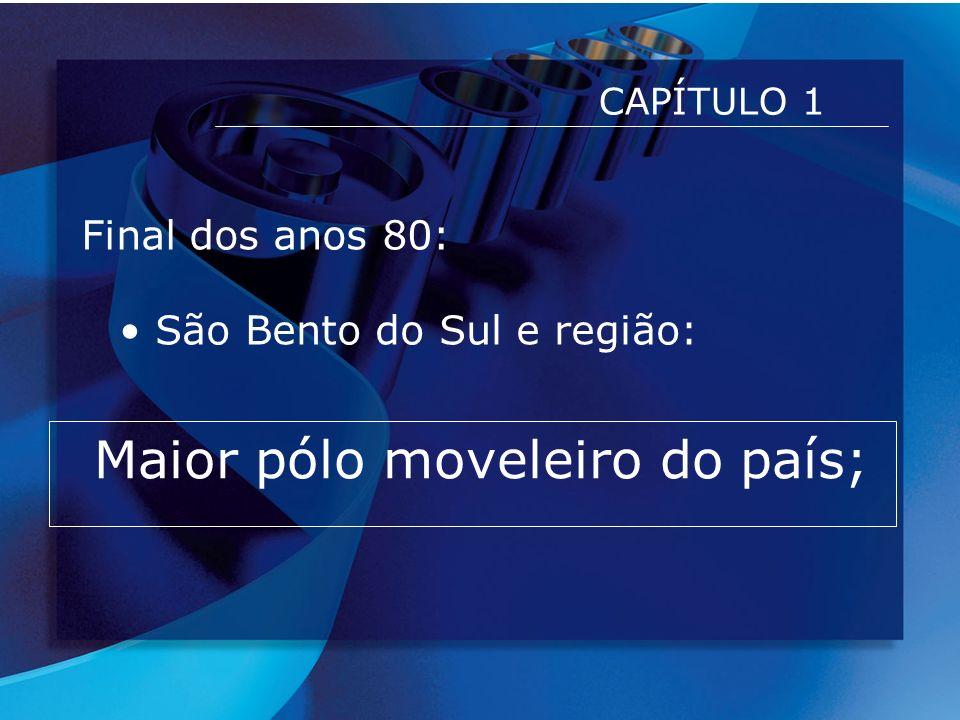 CAPÍTULO 1 - Continuação ESTRATEGICAMENTE: 30% DA PRODUÇÃO PARA EXPORTAÇÃO = BOM NEGÓCIO São Bento do Sul e região: Mercado consolidado em móveis com Madeiras do mais variados tipos: Cerejeira, Imbuia, Mogno, etc..