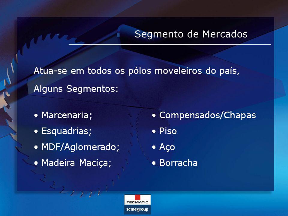 Segmento de Mercados Atua-se em todos os pólos moveleiros do país, Alguns Segmentos: Marcenaria; Esquadrias; MDF/Aglomerado; Madeira Maciça; Compensad