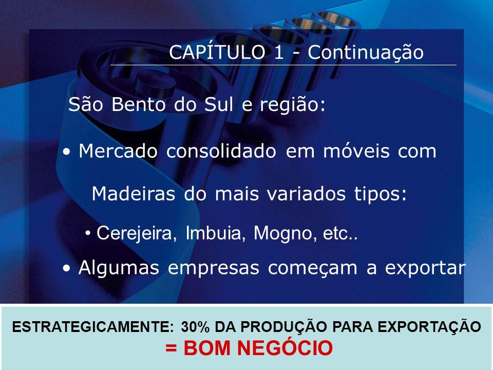 CAPÍTULO 1 - Continuação ESTRATEGICAMENTE: 30% DA PRODUÇÃO PARA EXPORTAÇÃO = BOM NEGÓCIO São Bento do Sul e região: Mercado consolidado em móveis com