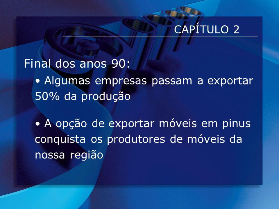 CAPÍTULO 2 Final dos anos 90: Algumas empresas passam a exportar 50% da produção A opção de exportar móveis em pinus conquista os produtores de móveis