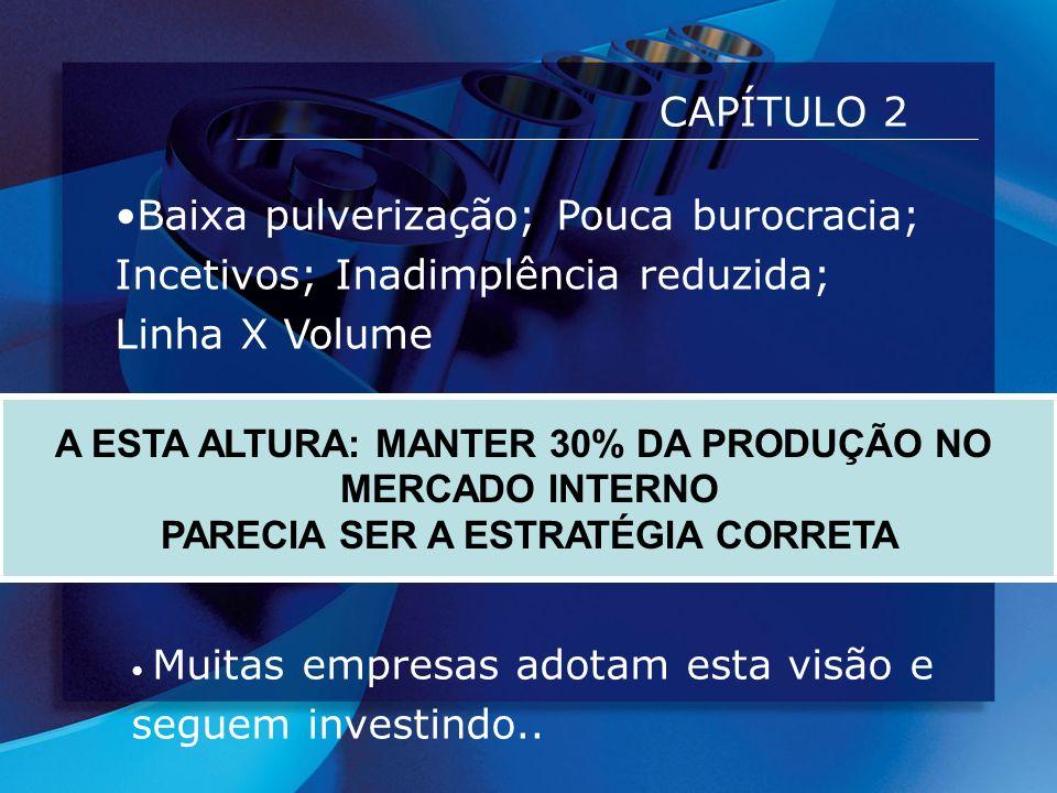 CAPÍTULO 2 A ESTA ALTURA: MANTER 30% DA PRODUÇÃO NO MERCADO INTERNO PARECIA SER A ESTRATÉGIA CORRETA Baixa pulverização; Pouca burocracia; Incetivos;