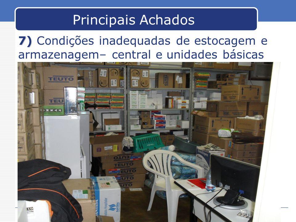 Principais Achados 7) 7) Condições inadequadas de estocagem e armazenagem– central e unidades básicas