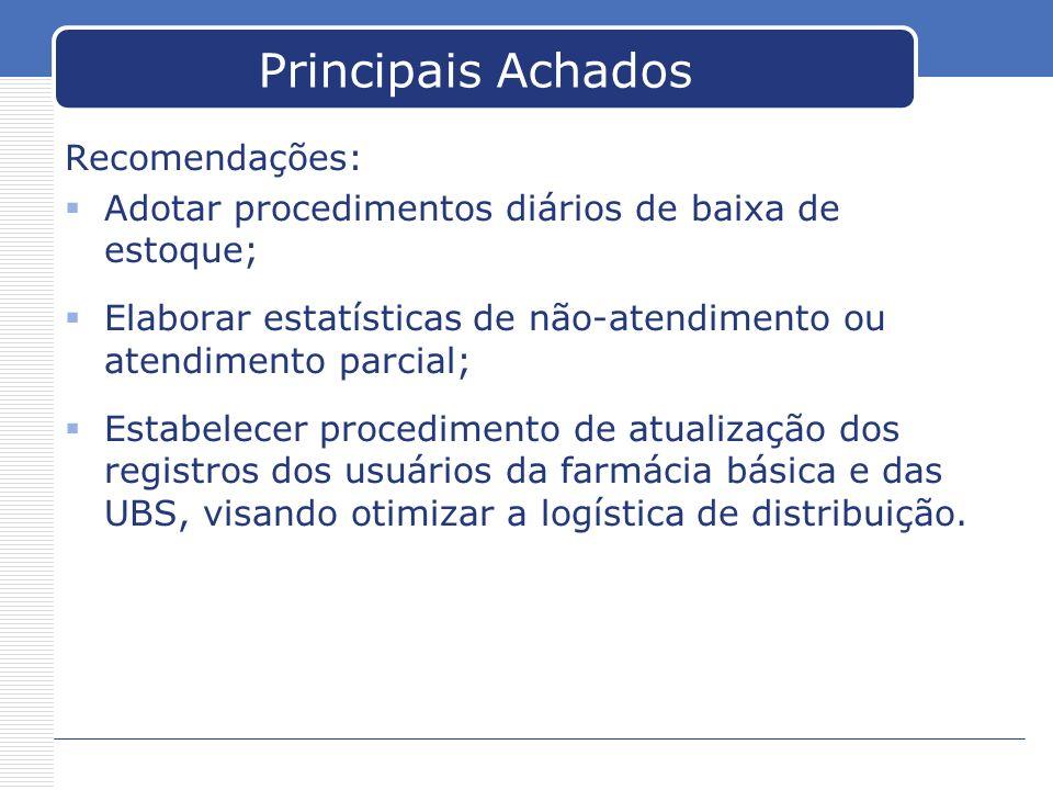 Principais Achados Recomendações: Adotar procedimentos diários de baixa de estoque; Elaborar estatísticas de não-atendimento ou atendimento parcial; E