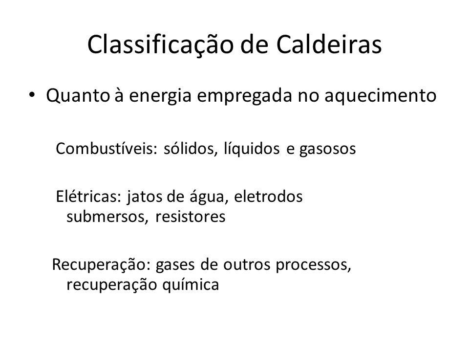 Classificação de Caldeiras Quanto à energia empregada no aquecimento Combustíveis: sólidos, líquidos e gasosos Elétricas: jatos de água, eletrodos sub