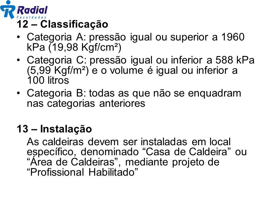 12 – Classificação Categoria A: pressão igual ou superior a 1960 kPa (19,98 Kgf/cm²) Categoria C: pressão igual ou inferior a 588 kPa (5,99 Kgf/m²) e