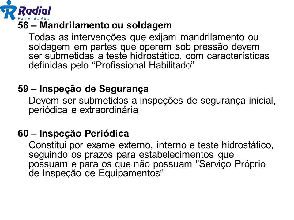 58 – Mandrilamento ou soldagem Todas as intervenções que exijam mandrilamento ou soldagem em partes que operem sob pressão devem ser submetidas a test
