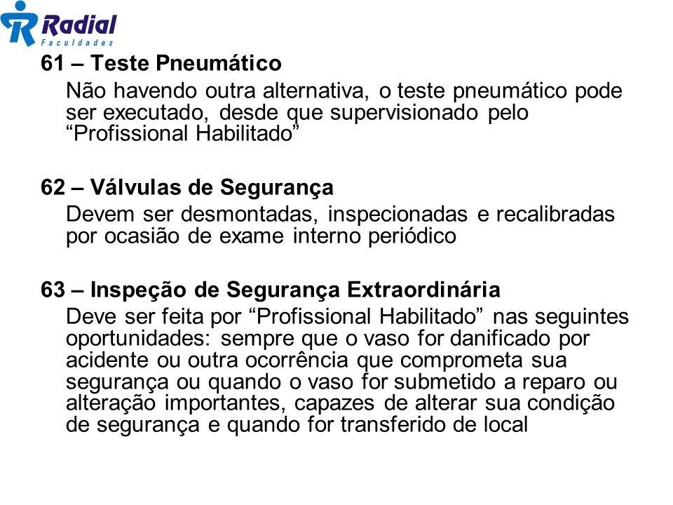 61 – Teste Pneumático Não havendo outra alternativa, o teste pneumático pode ser executado, desde que supervisionado pelo Profissional Habilitado 62 –