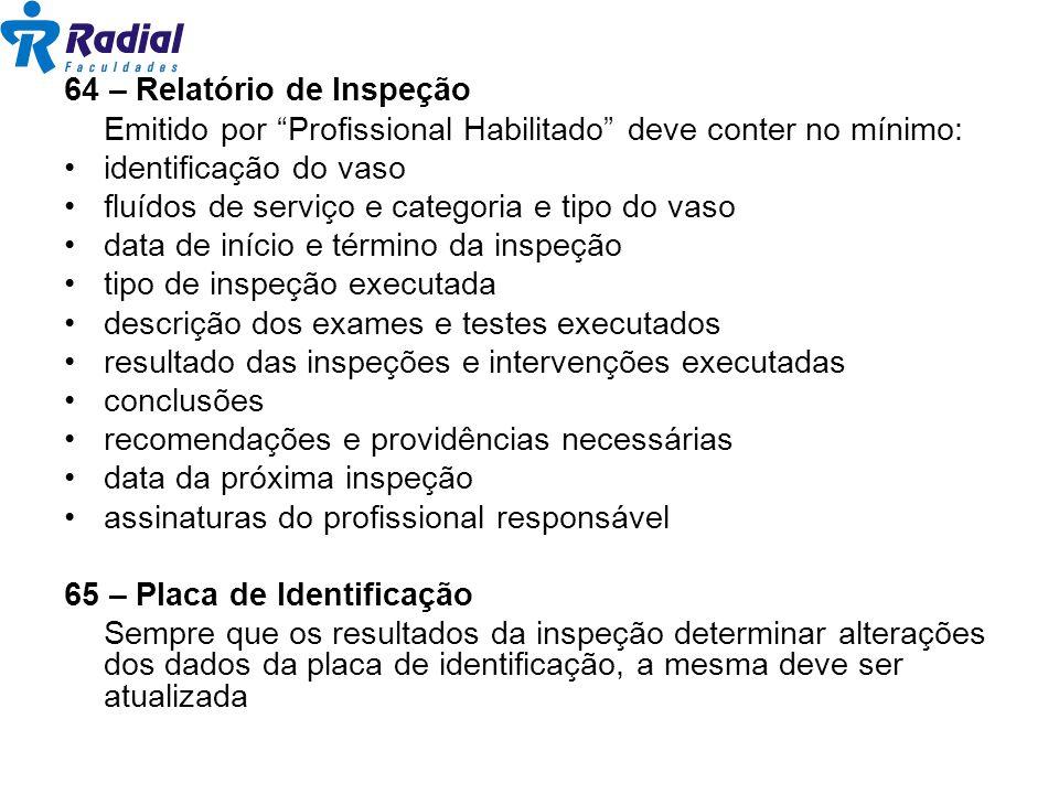 64 – Relatório de Inspeção Emitido por Profissional Habilitado deve conter no mínimo: identificação do vaso fluídos de serviço e categoria e tipo do v