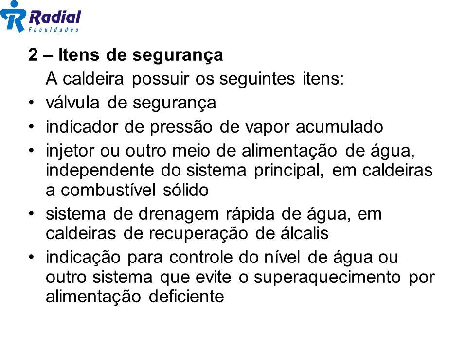 2 – Itens de segurança A caldeira possuir os seguintes itens: válvula de segurança indicador de pressão de vapor acumulado injetor ou outro meio de al