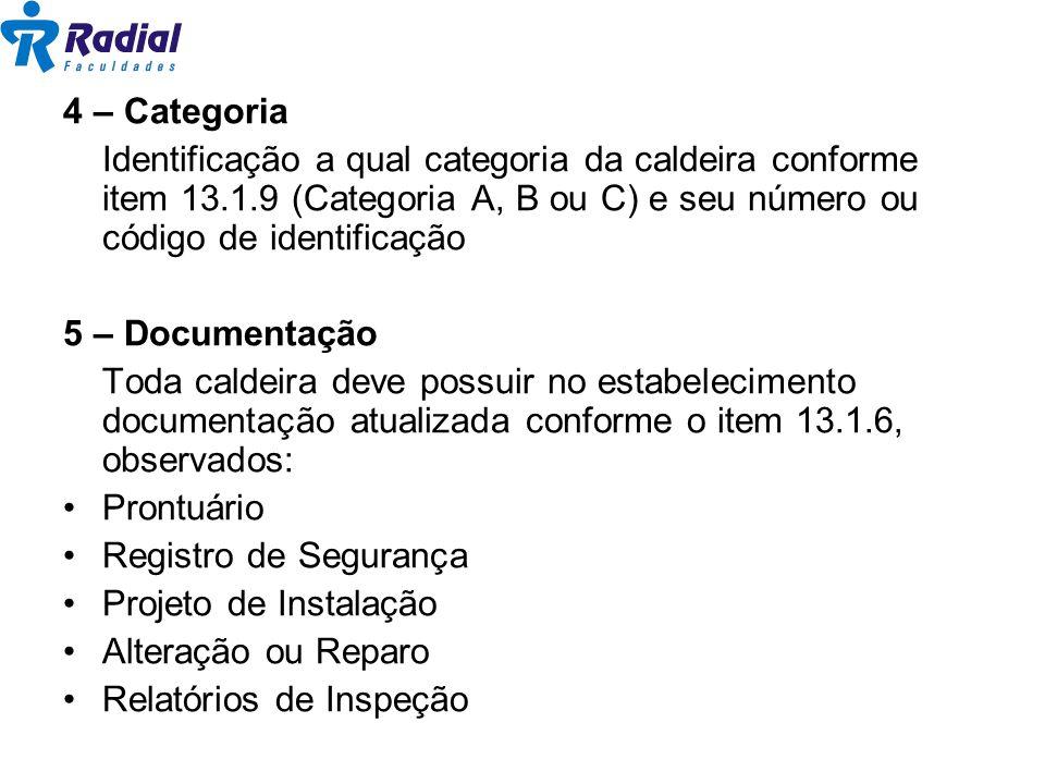 4 – Categoria Identificação a qual categoria da caldeira conforme item 13.1.9 (Categoria A, B ou C) e seu número ou código de identificação 5 – Docume