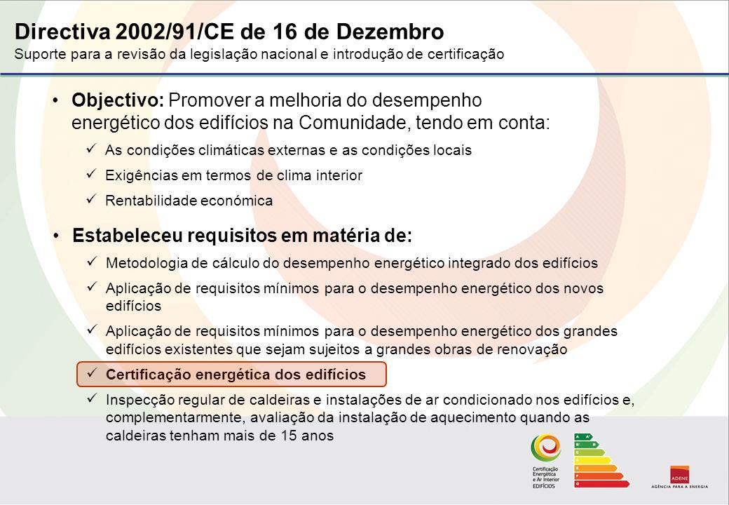 Directiva 2002/91/CE de 16 de Dezembro Suporte para a revisão da legislação nacional e introdução de certificação Objectivo: Promover a melhoria do desempenho energético dos edifícios na Comunidade, tendo em conta: As condições climáticas externas e as condições locais Exigências em termos de clima interior Rentabilidade económica Estabeleceu requisitos em matéria de: Metodologia de cálculo do desempenho energético integrado dos edifícios Aplicação de requisitos mínimos para o desempenho energético dos novos edifícios Aplicação de requisitos mínimos para o desempenho energético dos grandes edifícios existentes que sejam sujeitos a grandes obras de renovação Certificação energética dos edifícios Inspecção regular de caldeiras e instalações de ar condicionado nos edifícios e, complementarmente, avaliação da instalação de aquecimento quando as caldeiras tenham mais de 15 anos