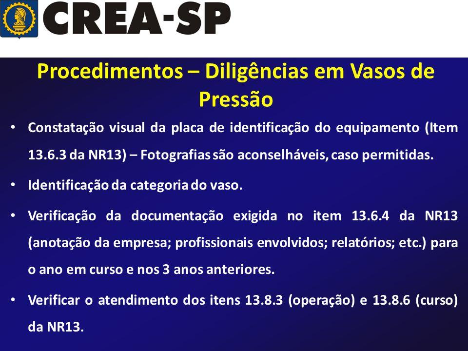 Constatação visual da placa de identificação do equipamento (Item 13.6.3 da NR13) – Fotografias são aconselháveis, caso permitidas. Identificação da c