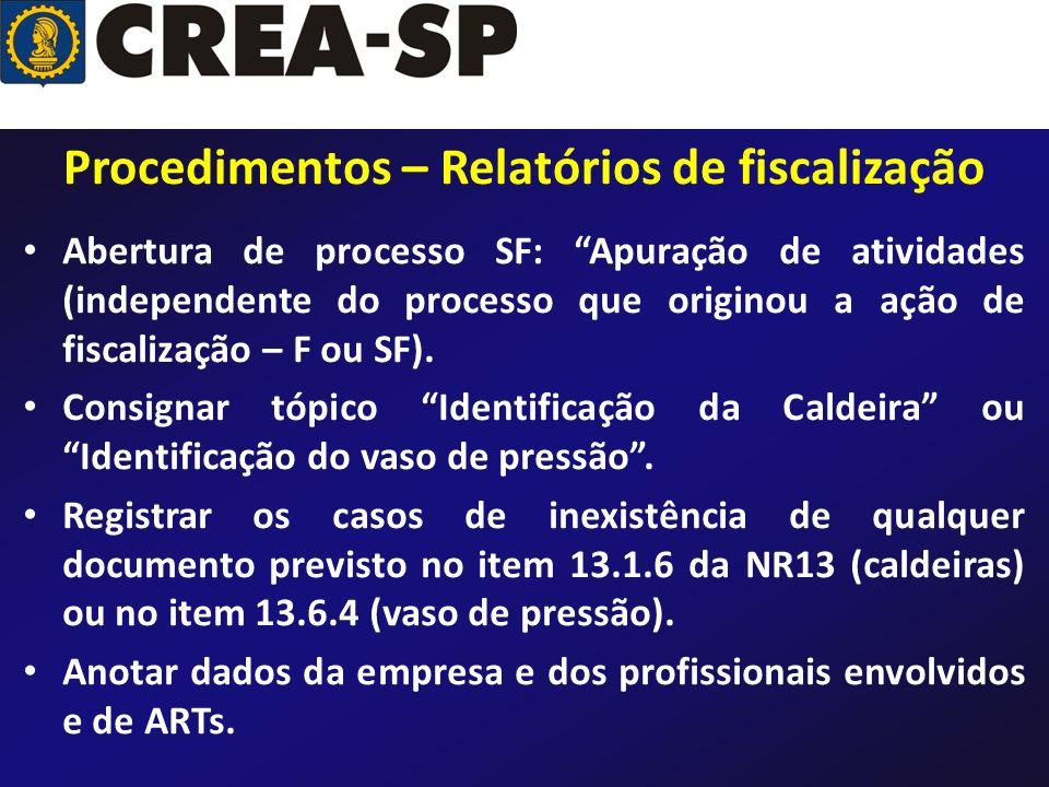 Procedimentos – Relatórios de fiscalização Abertura de processo SF: Apuração de atividades (independente do processo que originou a ação de fiscalizaç
