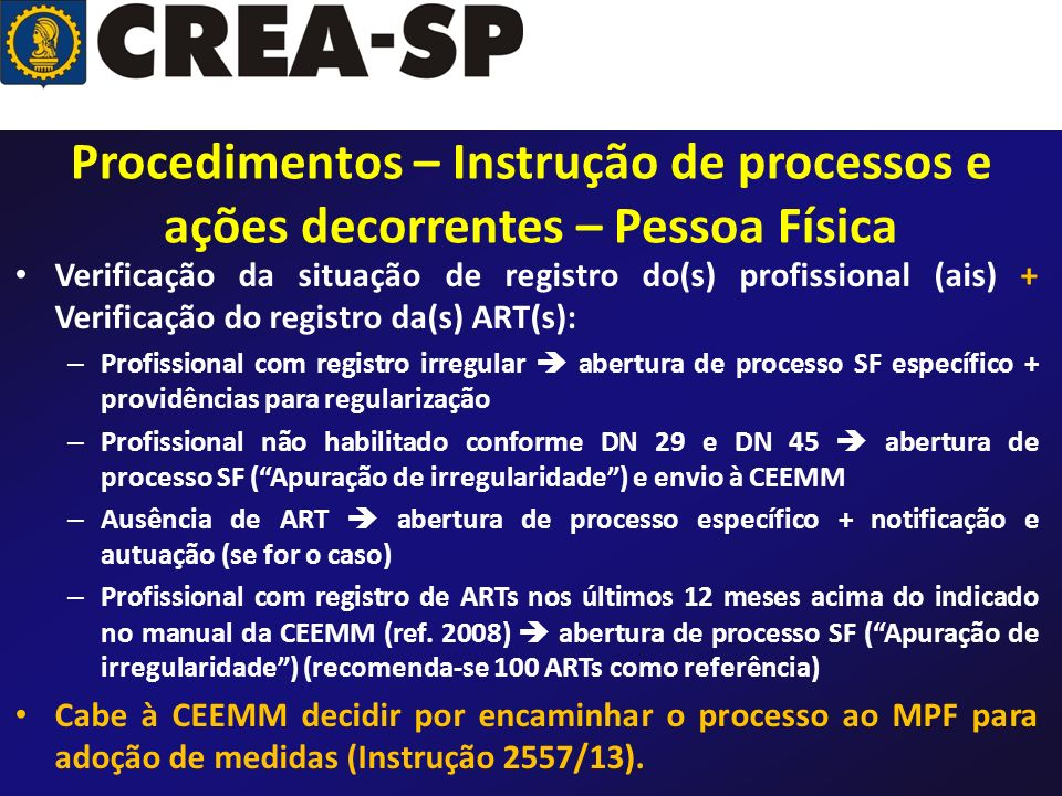 Verificação da situação de registro do(s) profissional (ais) + Verificação do registro da(s) ART(s): – Profissional com registro irregular abertura de