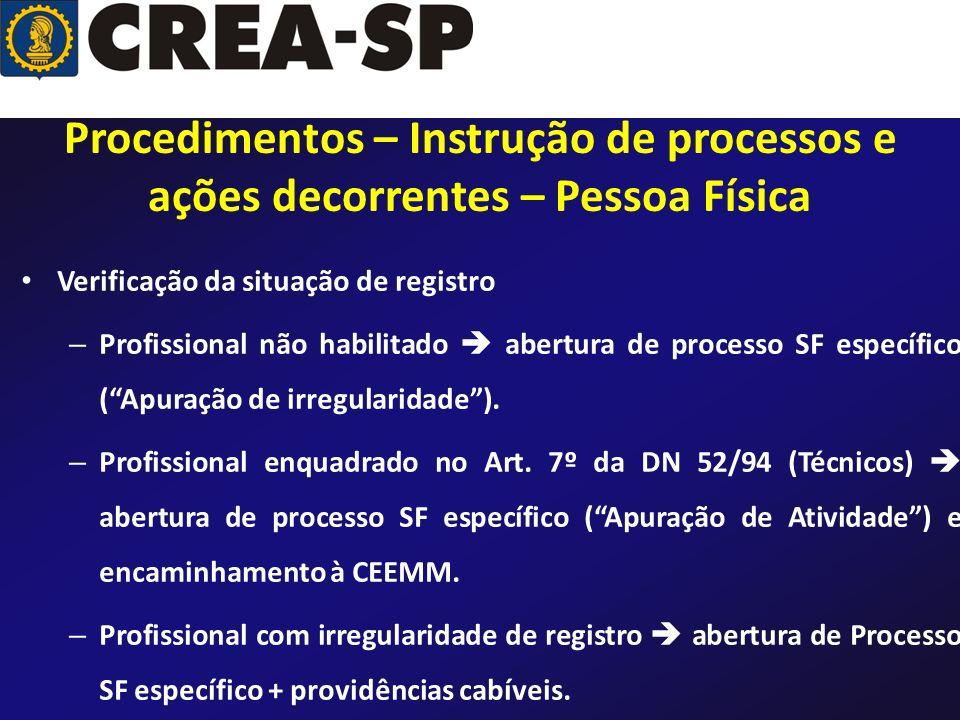 Verificação da situação de registro – Profissional não habilitado abertura de processo SF específico (Apuração de irregularidade). – Profissional enqu