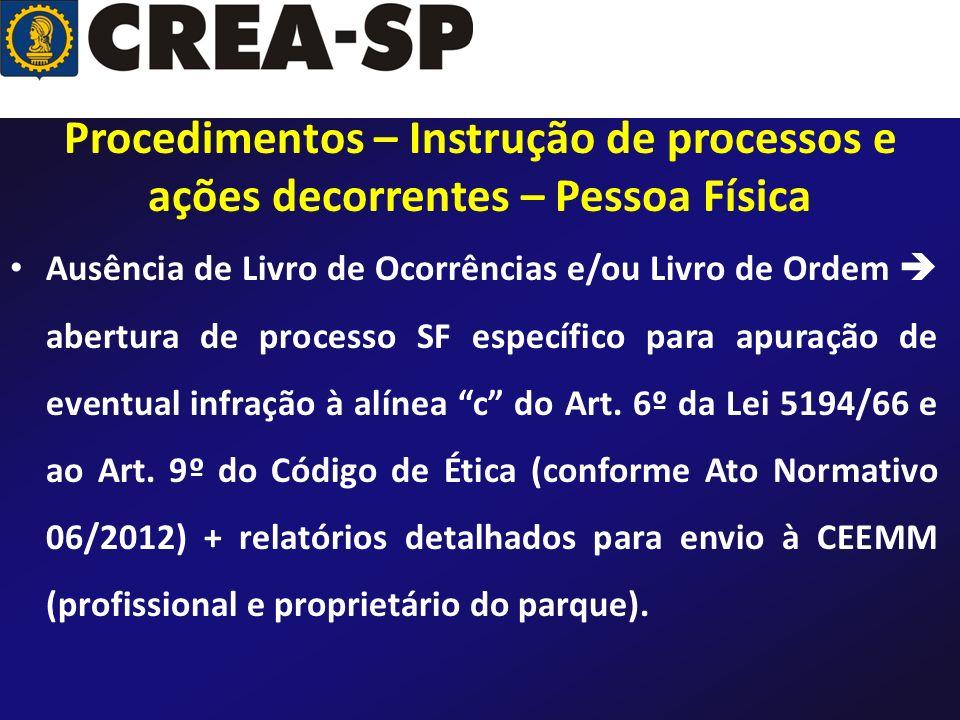 Ausência de Livro de Ocorrências e/ou Livro de Ordem abertura de processo SF específico para apuração de eventual infração à alínea c do Art. 6º da Le