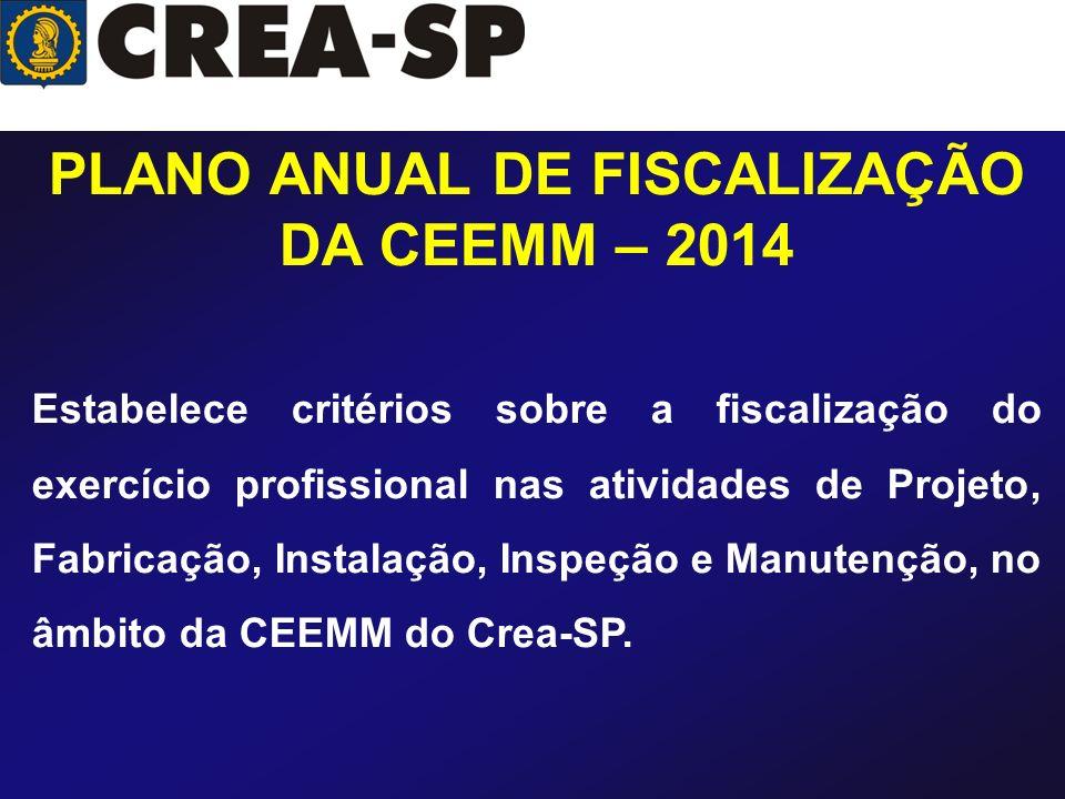 PLANO ANUAL DE FISCALIZAÇÃO DA CEEMM – 2014 Estabelece critérios sobre a fiscalização do exercício profissional nas atividades de Projeto, Fabricação,