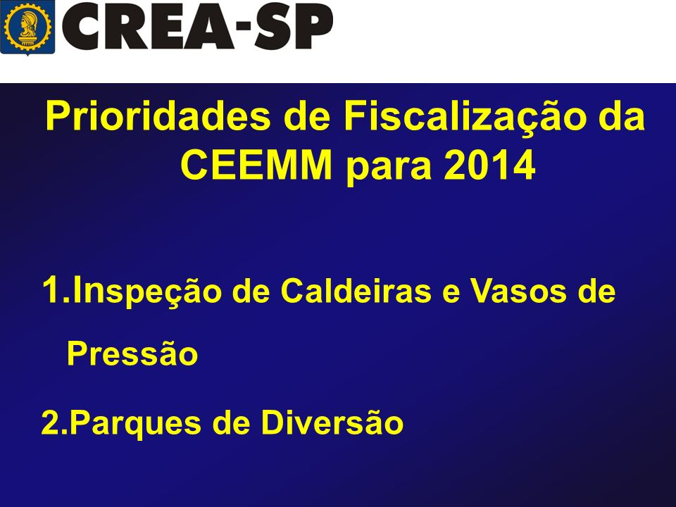 Prioridades de Fiscalização da CEEMM para 2014 1.In speção de Caldeiras e Vasos de Pressão 2.Parques de Diversão