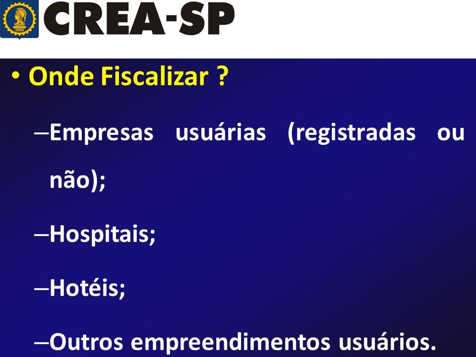 Onde Fiscalizar ? – Empresas usuárias (registradas ou não); – Hospitais; – Hotéis; – Outros empreendimentos usuários.