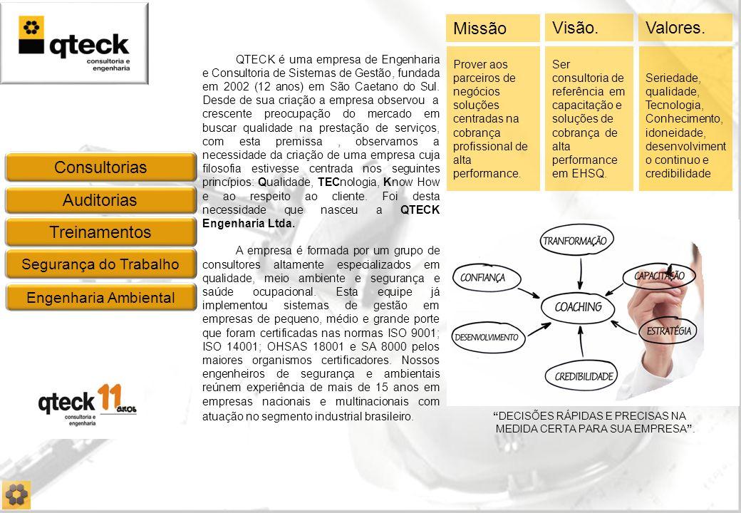Auditorias Treinamentos Consultorias Segurança do Trabalho Engenharia Ambiental QTECK é uma empresa de Engenharia e Consultoria de Sistemas de Gestão, fundada em 2002 (12 anos) em São Caetano do Sul.