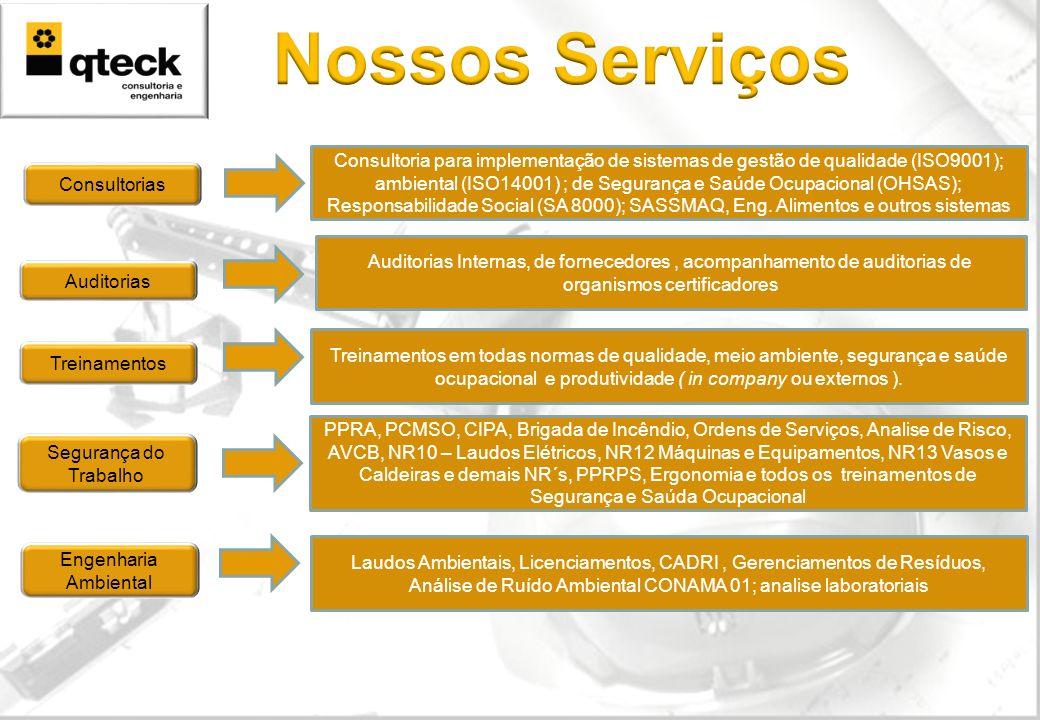 Auditorias Treinamentos Consultorias Segurança do Trabalho Engenharia Ambiental Consultoria para implementação de sistemas de gestão de qualidade (ISO9001); ambiental (ISO14001) ; de Segurança e Saúde Ocupacional (OHSAS); Responsabilidade Social (SA 8000); SASSMAQ, Eng.