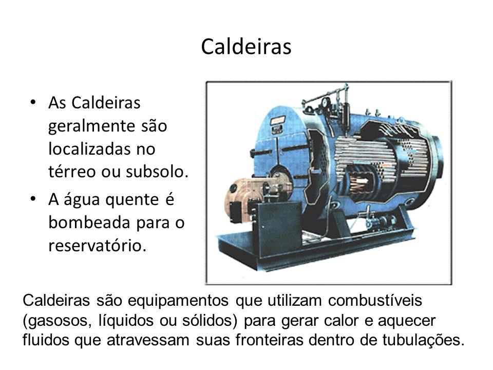 Caldeiras As Caldeiras geralmente são localizadas no térreo ou subsolo. A água quente é bombeada para o reservatório. Caldeiras são equipamentos que u