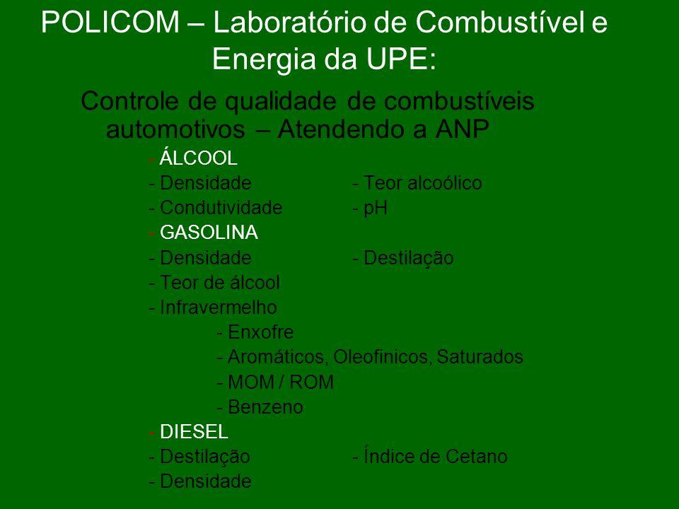 POLICOM – Laboratório de Combustível e Energia da UPE: Controle de qualidade de combustíveis automotivos – Atendendo a ANP - ÁLCOOL - Densidade- Teor alcoólico - Condutividade- pH - GASOLINA - Densidade - Destilação - Teor de álcool - Infravermelho - Enxofre - Aromáticos, Oleofinicos, Saturados - MOM / ROM - Benzeno - DIESEL - Destilação- Índice de Cetano - Densidade