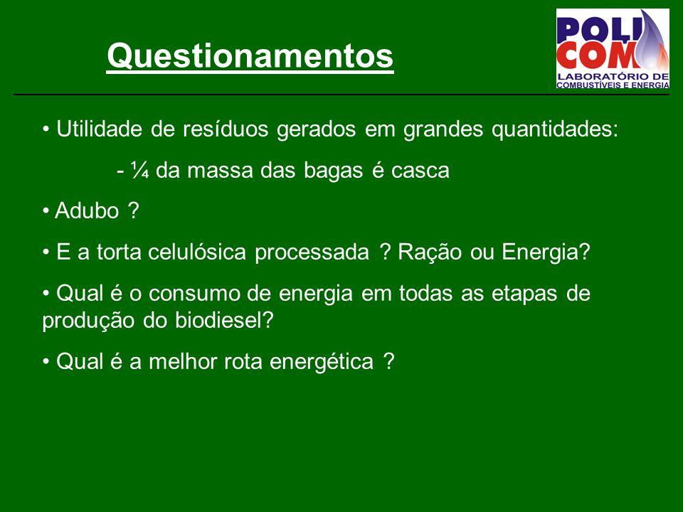 Pesquisas Aplicadas Aproveitamento energético de resíduos: - da produção de biodiesel - Bagaço de cana - Óleo de castanha de caju - Biogás de aterro - Biogás de esterco - Esgoto - Resíduos de poda - Briquetagem de resíduos