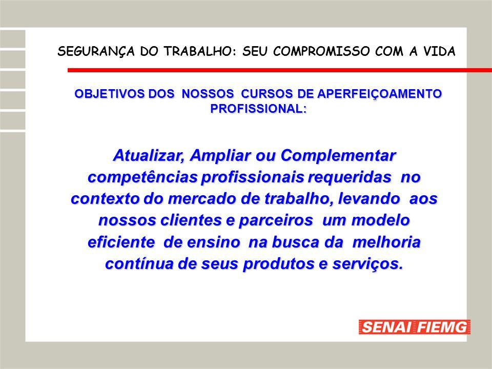 OBJETIVOS DOS NOSSOS CURSOS DE APERFEIÇOAMENTO PROFISSIONAL: Atualizar, Ampliar ou Complementar competências profissionais requeridas no contexto do m