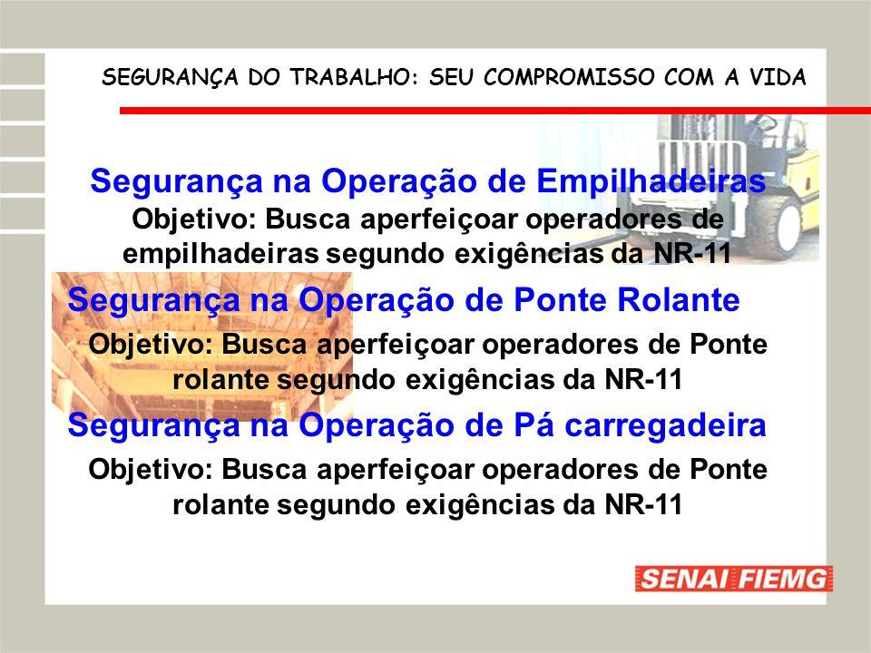 Segurança na Operação de Empilhadeiras Objetivo: Busca aperfeiçoar operadores de empilhadeiras segundo exigências da NR-11 Segurança na Operação de Po