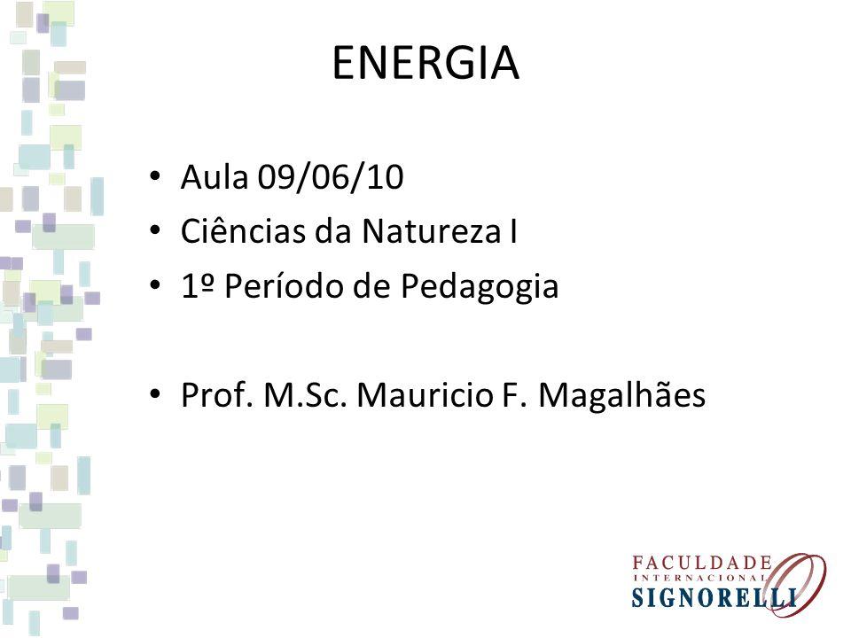ENERGIA Aula 09/06/10 Ciências da Natureza I 1º Período de Pedagogia Prof.