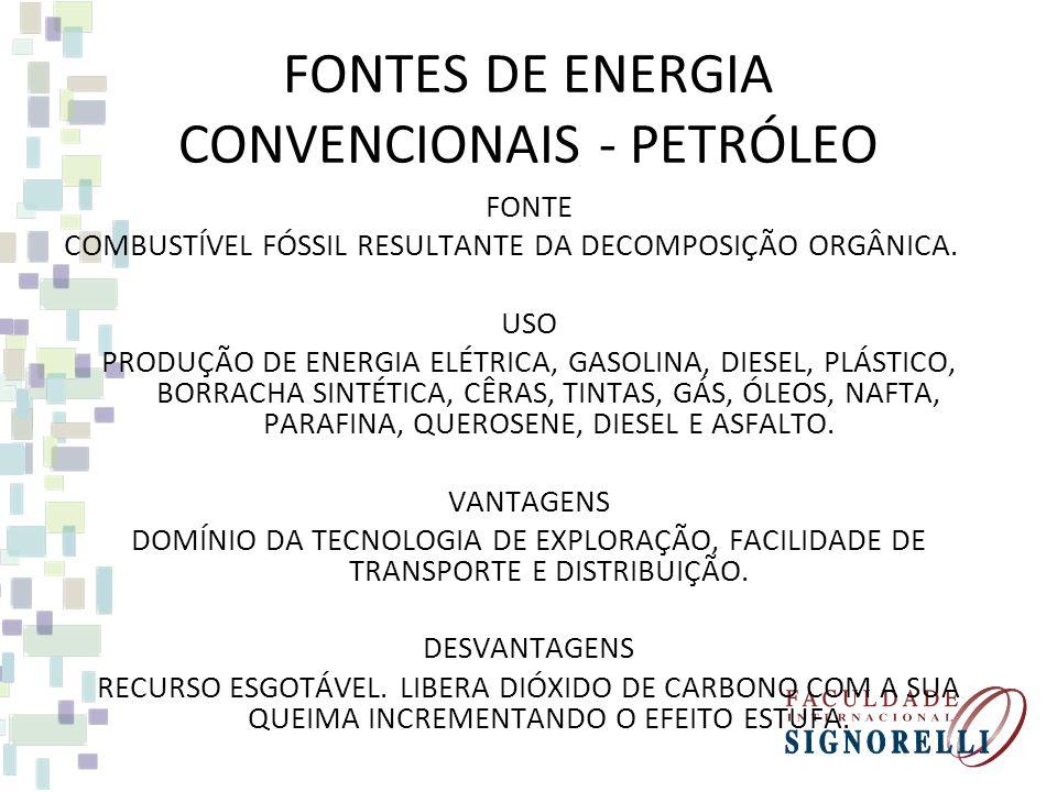 FONTES DE ENERGIA CONVENCIONAIS - PETRÓLEO FONTE COMBUSTÍVEL FÓSSIL RESULTANTE DA DECOMPOSIÇÃO ORGÂNICA.