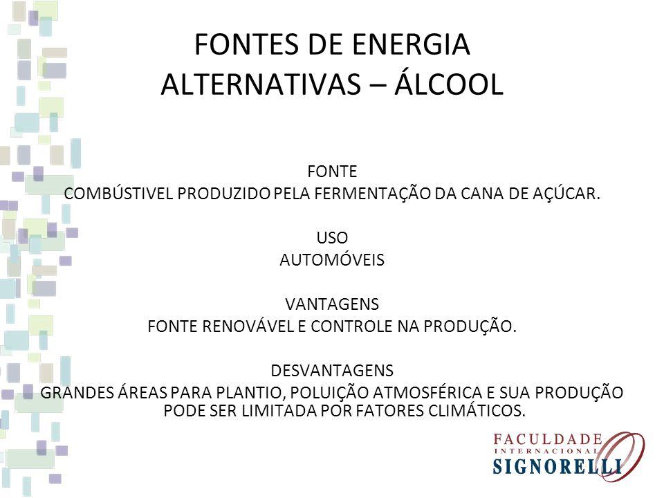 FONTES DE ENERGIA ALTERNATIVAS – GEOTÉRMICA FONTE AFLORAMENTO DE ÁGUA QUENTE DE BOLSÕES DE LAVAS SUBTERRÂNEAS (FONTES TERMAIS E GÊISERES). ESSES VAPOR