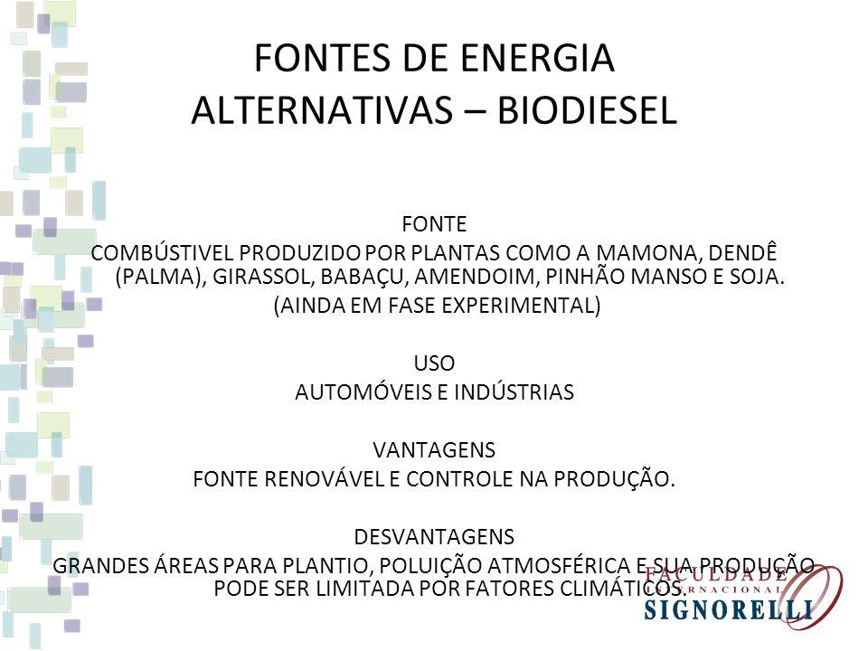 FONTES DE ENERGIA ALTERNATIVAS – ÁLCOOL FONTE COMBÚSTIVEL PRODUZIDO PELA FERMENTAÇÃO DA CANA DE AÇÚCAR. USO AUTOMÓVEIS VANTAGENS FONTE RENOVÁVEL E CON