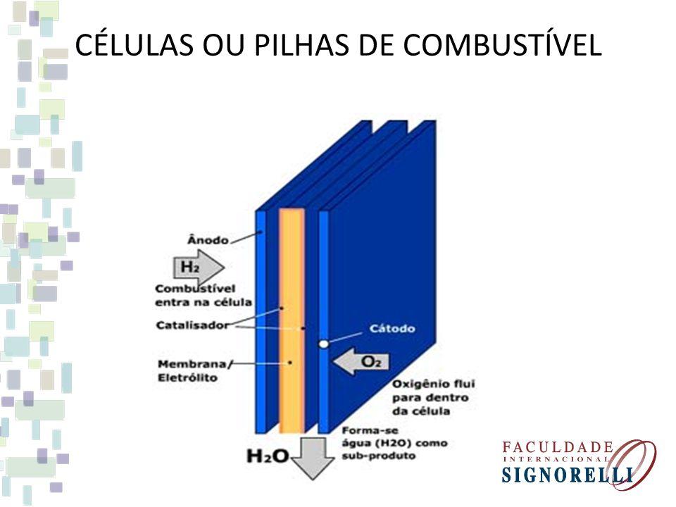 FONTES DE ENERGIA EXÓTICAS CÉLULAS OU PILHAS DE COMBUSTÍVEL FONTE CONVERSÃO DE ENERGIA DO HIDROGÊNIO EM ELETRICIDADE (PROCESSO INVERSO AO DA HIDRÓLISE