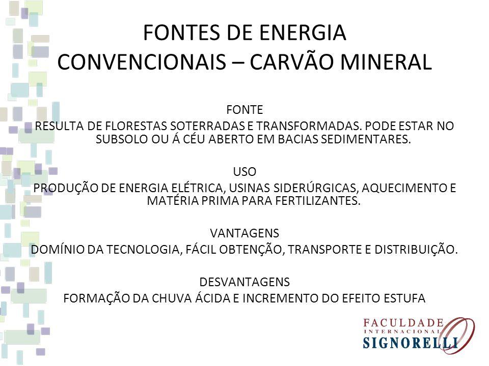 FONTES DE ENERGIA CONVENCIONAIS – CARVÃO MINERAL FONTE RESULTA DE FLORESTAS SOTERRADAS E TRANSFORMADAS.