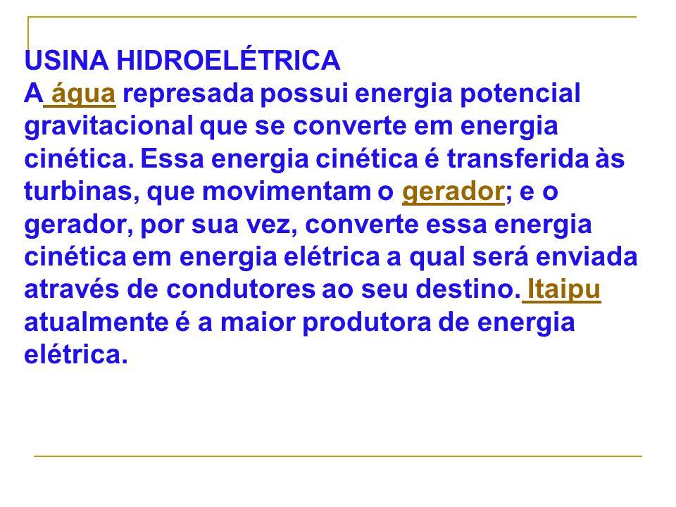 USINA HIDROELÉTRICA A água represada possui energia potencial gravitacional que se converte em energia cinética.
