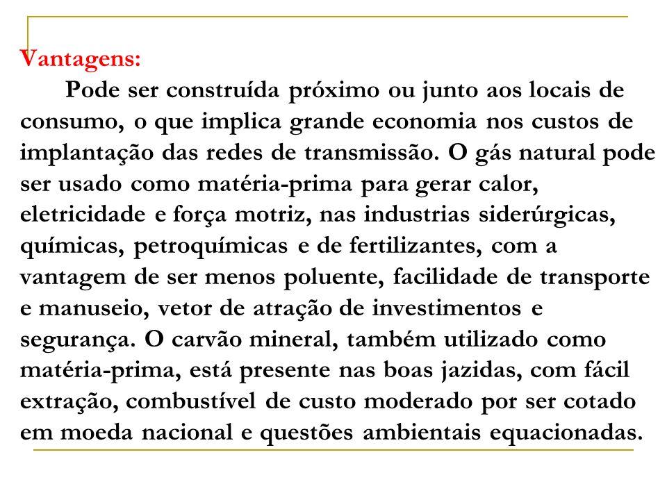 Vantagens: Pode ser construída próximo ou junto aos locais de consumo, o que implica grande economia nos custos de implantação das redes de transmissão.