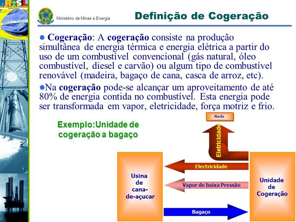 Ministério de Minas e Energia Cogeração: A cogeração consiste na produção simultânea de energia térmica e energia elétrica a partir do uso de um combu