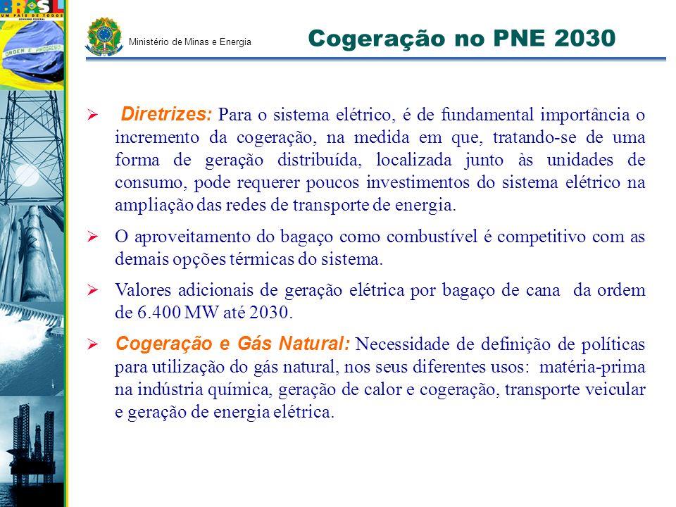 Cogeração no PNE 2030 Diretrizes: Para o sistema elétrico, é de fundamental importância o incremento da cogeração, na medida em que, tratando-se de um