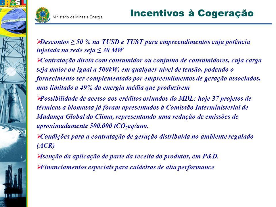 Incentivos à Cogeração Descontos 50 % na TUSD e TUST para empreendimentos cuja potência injetada na rede seja 30 MW Contratação direta com consumidor